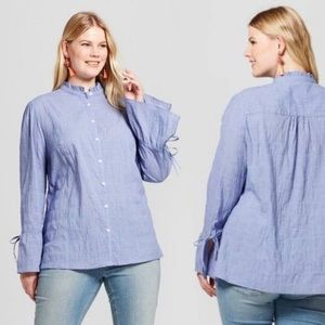 Ava & Viv | Blue Chambray Button Down Bell Sleeves